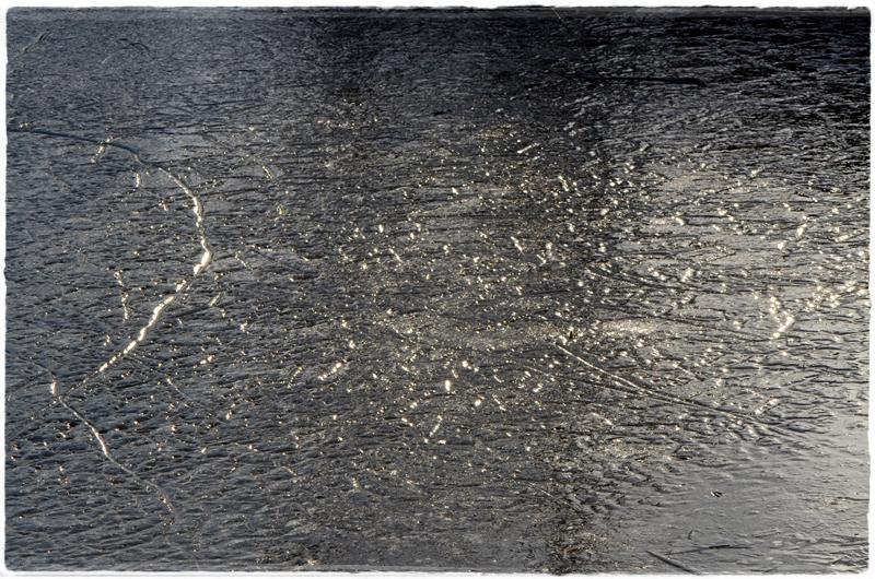 La lumière frappe la mare gelée... la glace devient constellation