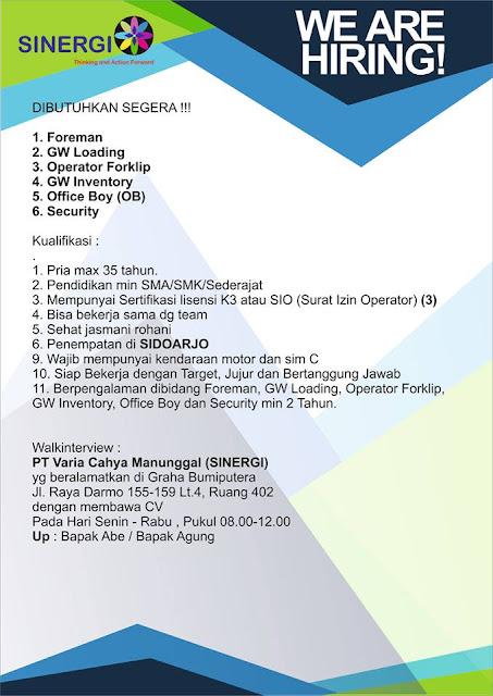 lowongan kerja variasi cahya manunggal SINERGI Surabaya