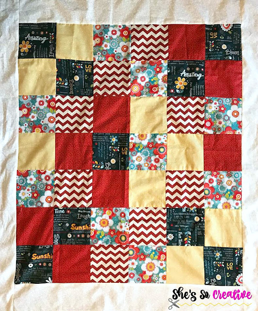 Quilt Top for Simple Beginner Quilt tutorial