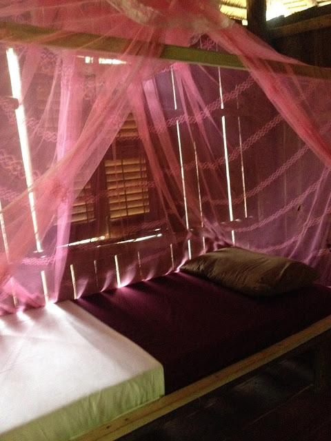 monsquito netting over a bunk in a beach bungalow