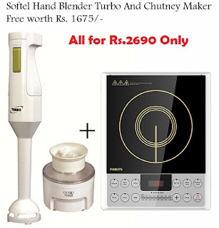 Philips HD4929 2100W Induction Cooktop for Rs.2690 with Free Softel Hand Blender Turbo And Chutney Maker Free worth Rs.1675