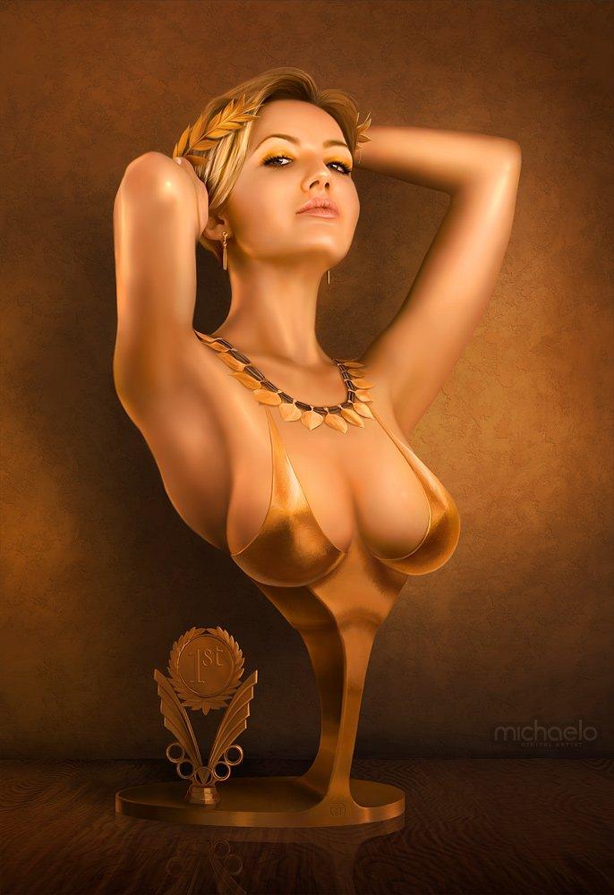 Busto de rubia bonita arte digital