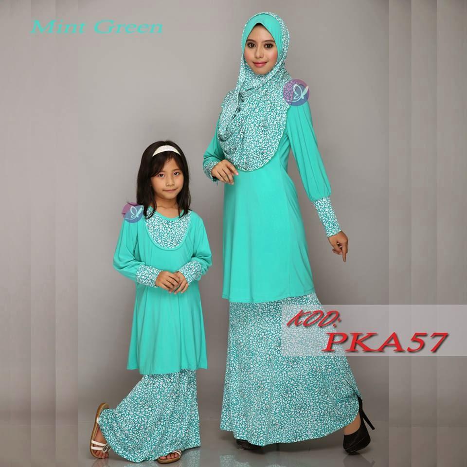 Baju kurung raya ibu dan anak sedondon Tema Hijau 2015  145179d71b