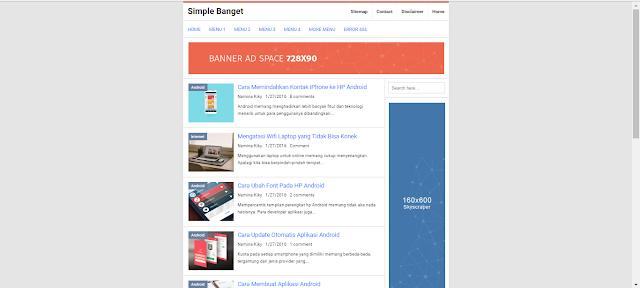 Simple Banget Responsive Blogger Template 2016 Keren