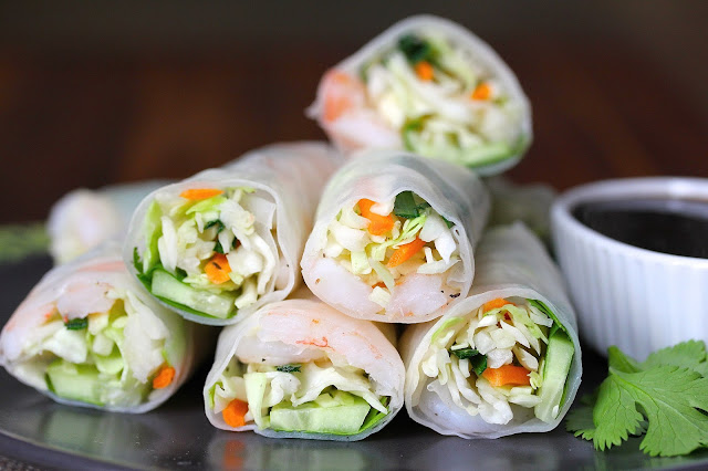 Shrimp and Veggie Summer Rolls from Karen's Kitchen Stories