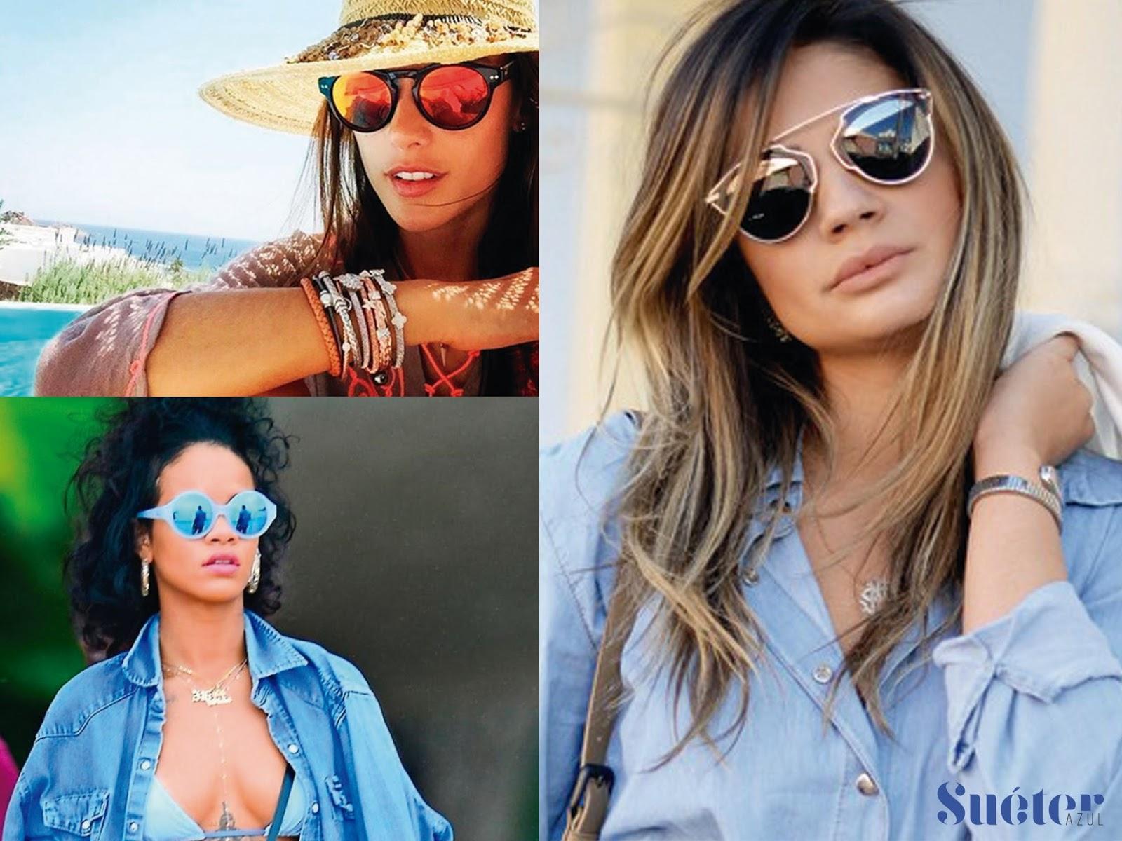 45068dbadaa92 Tendências óculos de sol verão 2016 - Suéter Azul