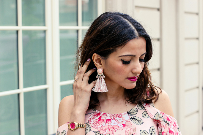 Pink Tassel Earrings Le Chateau Blogger Outfit