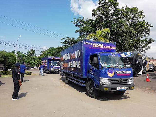 Kirim 19 Truck, Nasdem Bantu Korban Tsunami Lamsel
