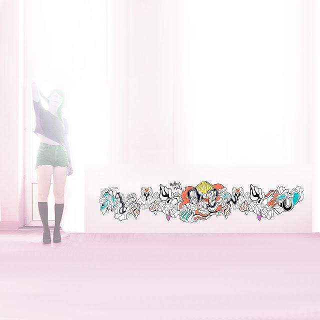 anthea missy, art, street art, mural, open graffiti, show, group, canvas, kanal karma, Galerie Amarrage,  La Manufacture 111, Paris, Brussels, au bord de l'eau,