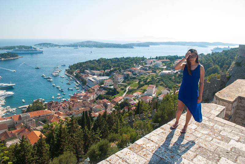 summer outfit with flowy blue maxi dress in croatia