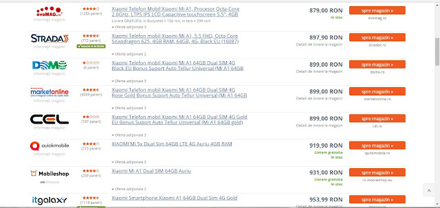 Xiaomi Mi A1 preturi,cit costa Xiaomi Mi A1