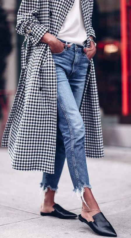 stylish look / plaid coat + loafers + top + jeans