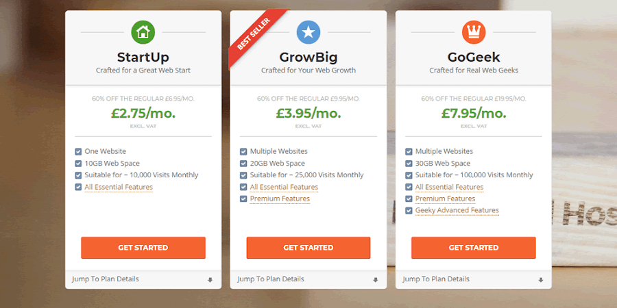 SiteGround shared hosting plans start at £2.75 per month