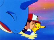 Ash despidiendose de lapras