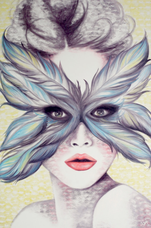 06-Don-t-Ruffle-my-Feathers-Alexis-Fraser-Portraits-Painted-with-Lipstick-and-Kisses-www-designstack-co