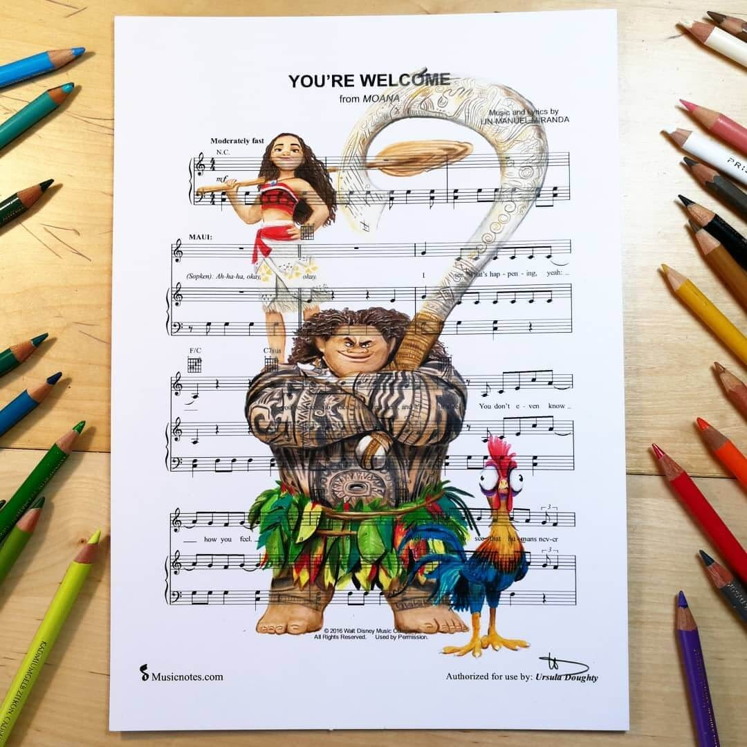 09-Moana-U-Doughty-Movie-Character-Drawings-on-Music-Sheets-www-designstack-co