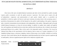 Artikel Jurnal Kualitas Audit Pengaruh Independensi, Kompetensi, Dan Profesionalisme Terhadap Kualitas Audit