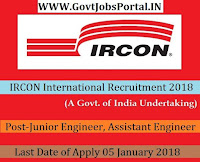 IRCON International Recruitment 2018 – 59 Junior Engineer, Assistant Engineer