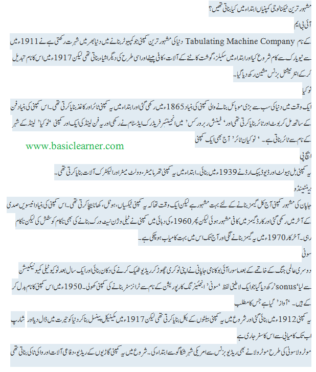 urdu- popular technology companies in the beginning