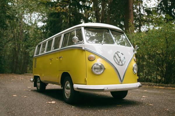 1965 VW Bus 13 Window Yellow Deluxe