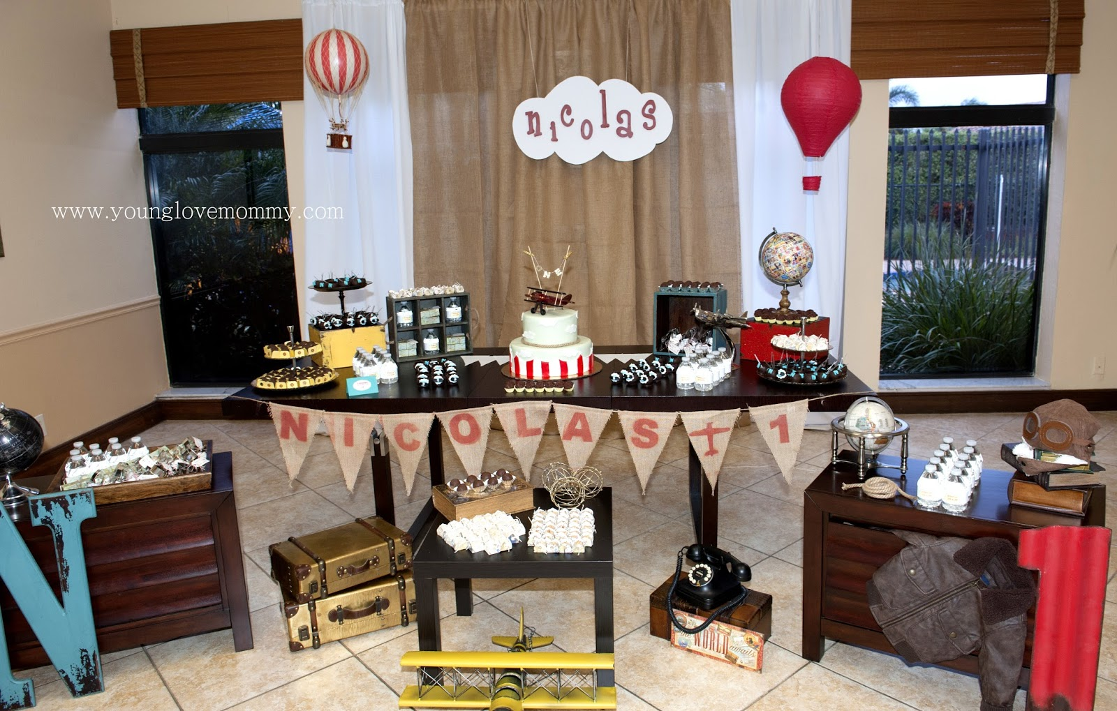 Vintage Airplane Party first birthday party