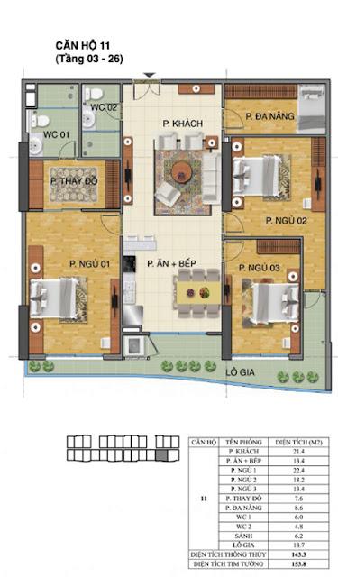 Căn hộ số 11 tòa nhà Trường Thành B- Tràng An Complex