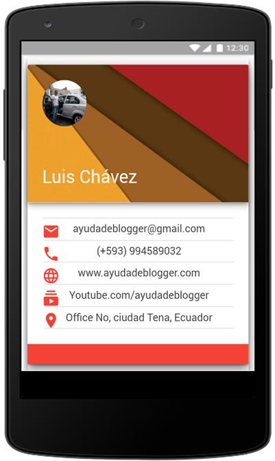 Widget card negocios Material design Blogger