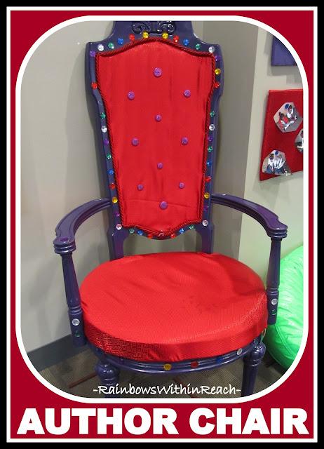 photo of: Author's Throne in Kindergarten Classroom (Reading Center RoundUP via RainbowsWithinReach)