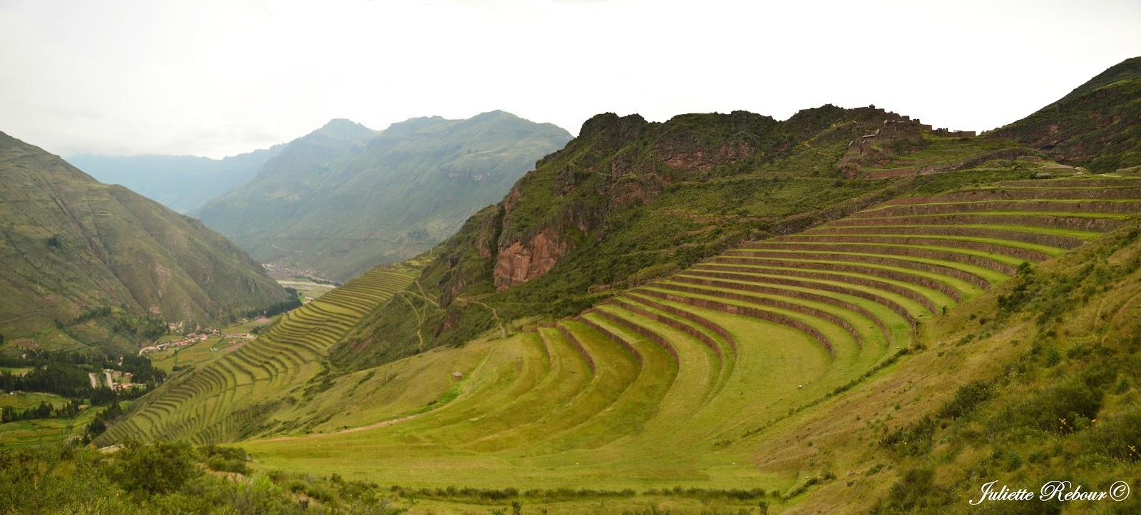 Terrasses incas à Pisaq au Pérou