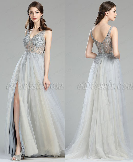 eDressit Sparkly V Cut Beaded Evening Dresses for Women