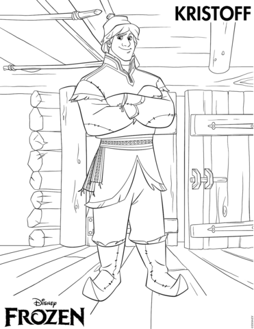 Click to see printable version of Handsome Kristoff Coloring page