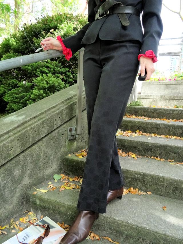 Melanie Kobayashi's Jacqueline Conoir suit on Bag and a Beret