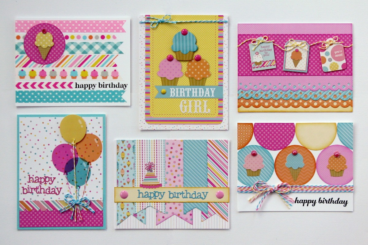 Doodlebug Design Inc. Sugar Shoppe Birthday Cards for Kids & Teen Girls by Mendi Yoshikawa