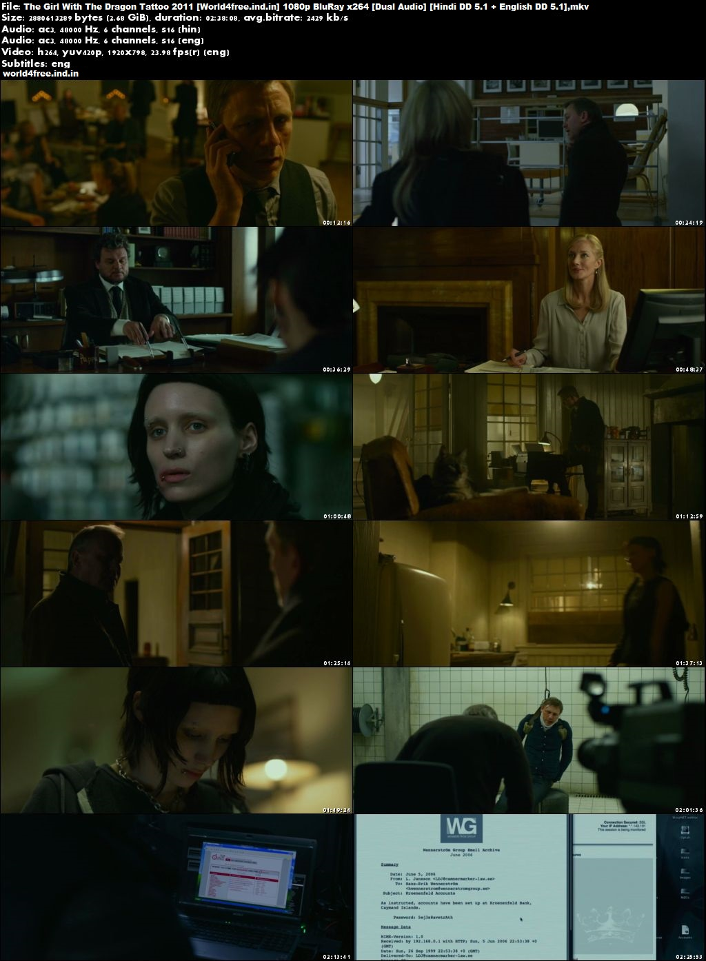 The Girl with the Dragon Tattoo 2011 world4free.ind.in Dual Audio 1080p Download