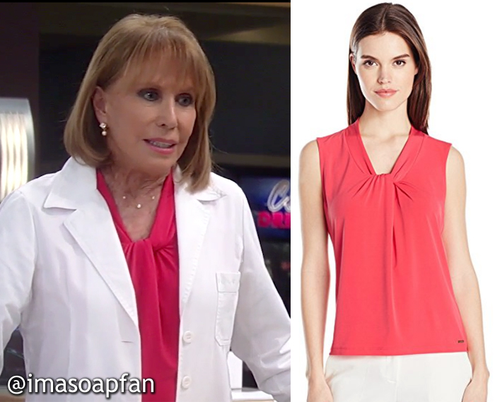 Monica Quartermaine, Leslie Charleson, Watermelon Pink Twist Neckline Top, Calvin Klein, GH, General Hospital