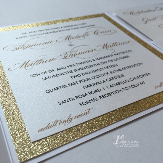 1st Impressions Invitations Custom Pocket Fold With Glitter