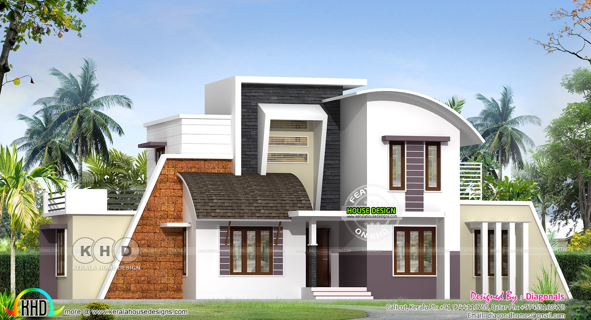 Grand home 2298 sq ft contemporary style kerala home for Grand home designs