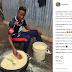 Nigerian and Arsenal FC player, Kelechi Nwakali shares photo of himself frying garri in his village