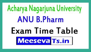 Acharya Nagarjuna University ANU B.Pharm Exam Time Table 2017