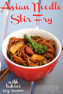 Healthy Asian Noodle Stir Fry Recipe with Tahini Soy Sauce