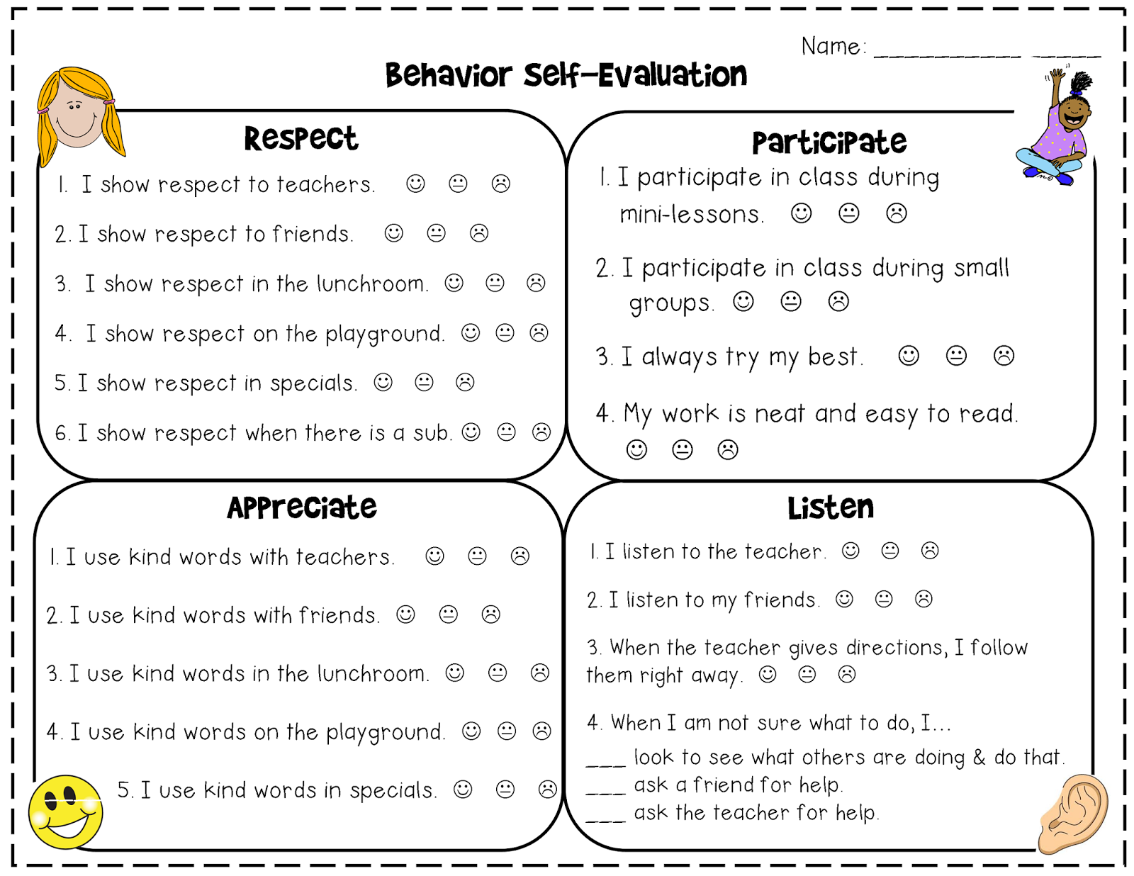 First Grade Kate Self Reflection Sheet For Conferences
