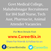 Govt Medical College, Mahabubnagar Recruitment for 184 Staff Nurse, Tech Asst, Pharmacist, Animal Attender Vacancies