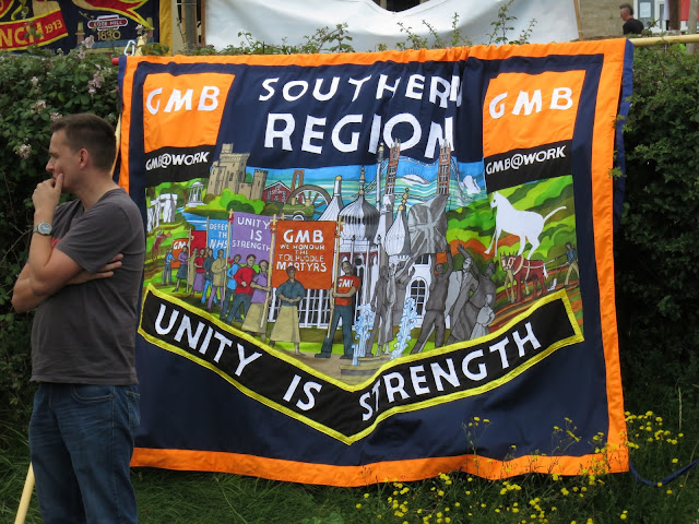 GMB banner at Tolpuddle Festival. Unity is Strength.