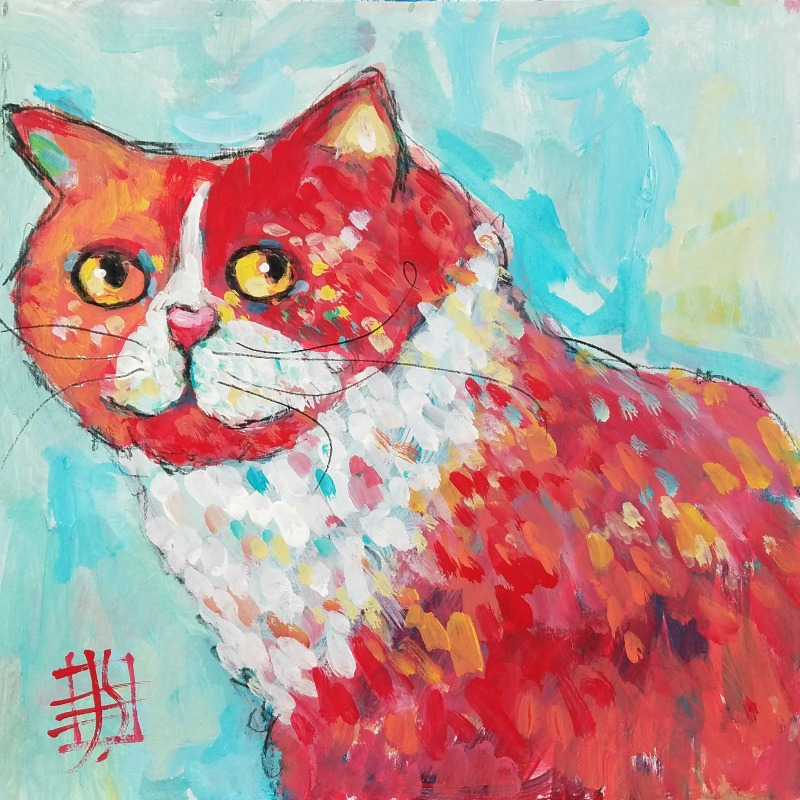 cat #4 by joanie springer 30 paintings in 30 days