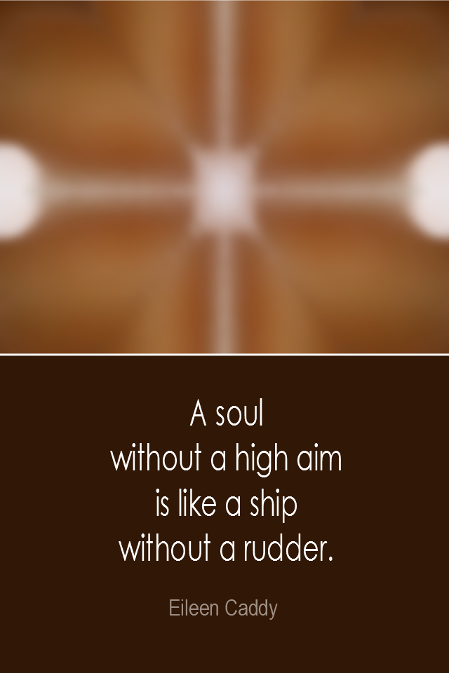 visual quote - image quotation: A soul without a high aim is like a ship without a rudder. - Eileen Caddy