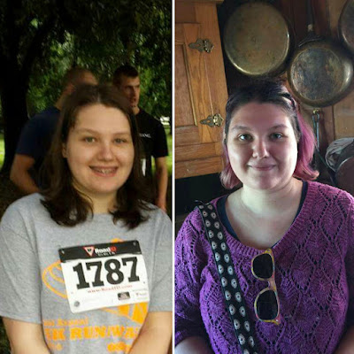 Before and After. Left is me in 2014, wearing a Strides for Pride race shirt and race number. On the right is me in 2016 in front of pots and pans on the wall, wearing a purple sweater and sunglasses hanging from my sweater.