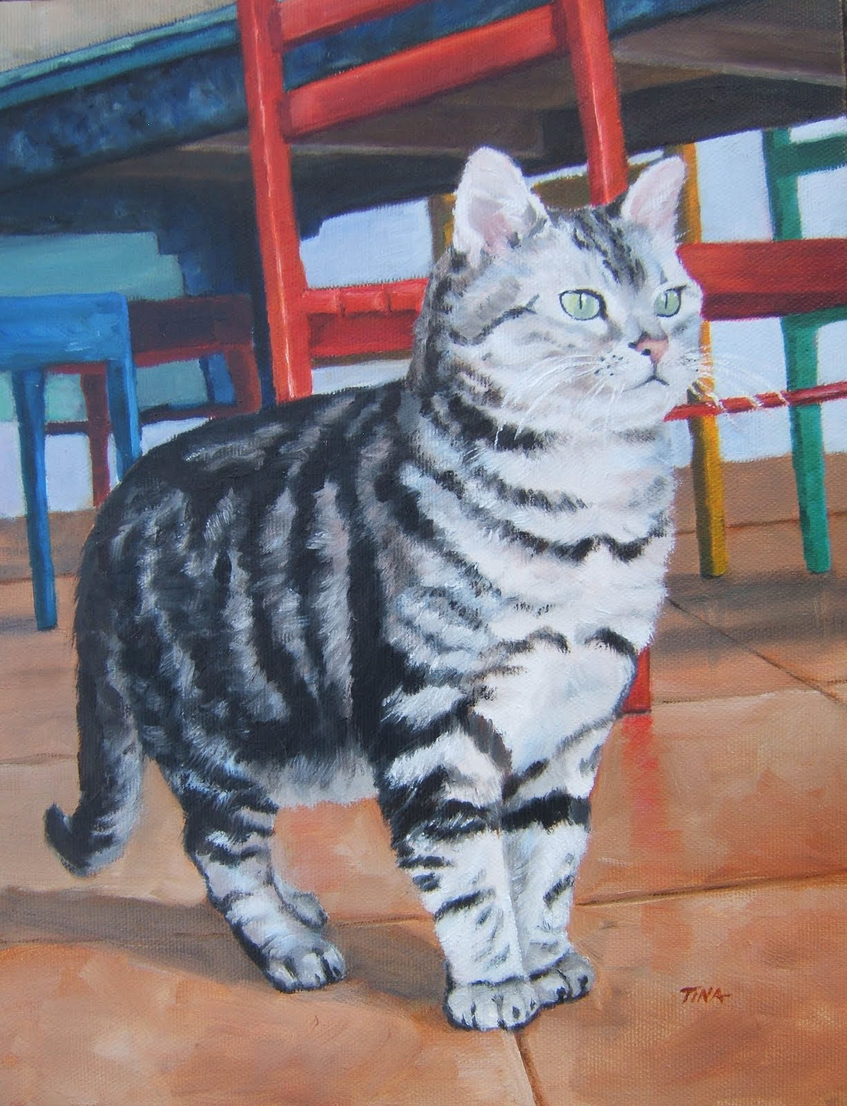"""Muffy's World"" 12""x 9"" oil on canvas, pet portrait ©2009 Tina M Welter"