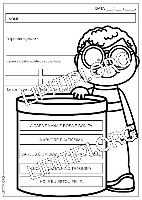 Adjetivos Atividade Língua Portuguesa