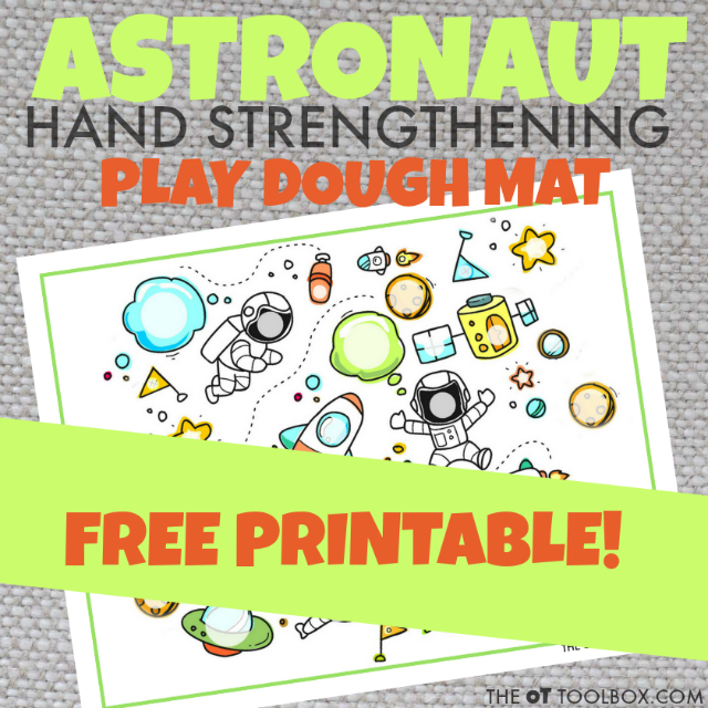 Kids will love this astronaut play dough mat for building hand strength of the intrinsic muscles using play dough and this astronaut theme play dough mat, perfect for play dough activities and astronaut activities!