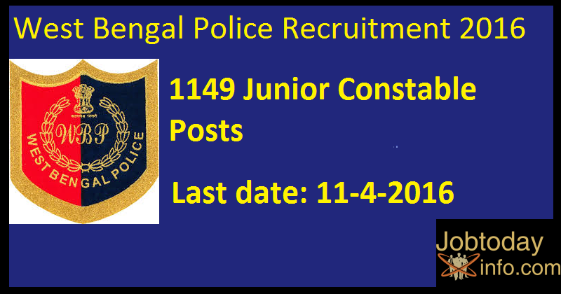 West Bengal Police Recruitment 2016 Apply for 1149 Junior Constable Posts